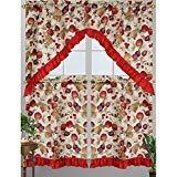 Kashi Home Diana Kitchen Curtain Swag Set, Apple, Plum, Pear & Cherry Printed -