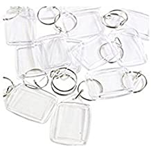 100 Pcs of Blank Clear Acrylic Keyring 25x35mm Photo Insert Craft Keychain