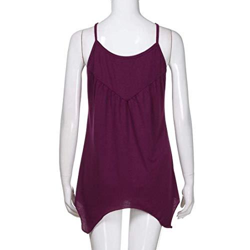 Shirt Spalline Moda Elegante Estivi Donna Chic Irregular Scavare Violett T Accogliente Pieghe Ragazza Camisole di Moda Senza Maglietta Monocromo Canotta Fionda Mare naw7txgq