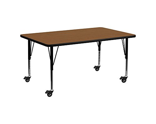 (Offex 24''W x 60''L Rectangular Oak HP Laminate Mobile Activity Table with Height Adjustable Short Legs)