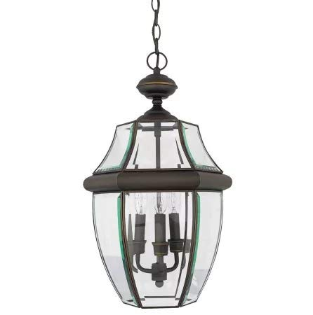 - Quoizel NY1179Z Newbury Outdoor Pendant Lantern Ceiling Lighting, 3-Light, 180 Watts, Medici Bronze (21