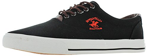 Boat Sneaker (Beverly Hills Polo Club Men's Canvas Boat Sneakers Black Size 13)