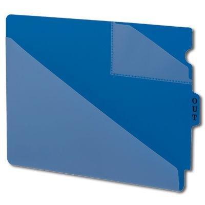 (Vinyl end tab outguides, two diagonal-cut pockets, letter size, blue, 50/box)