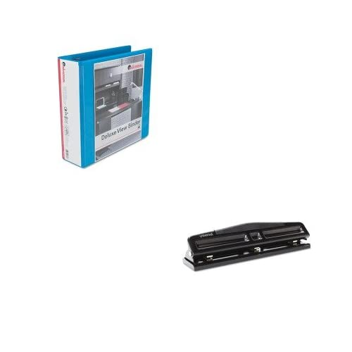 KITUNV20753UNV74323 - Value Kit - Universal Deluxe Round Ring Vinyl View Binder (UNV20753) and Universal 12-Sheet Deluxe Two- and Three-Hole Adjustable Punch (UNV74323)