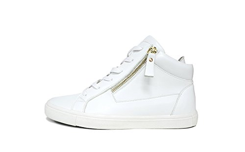 ZXD Fashion High Top Round Toe Sneakers Lace up With Zipper Skateboarding Trainers Board Skate Shoes White 6 (High Tops Racing Shoes)