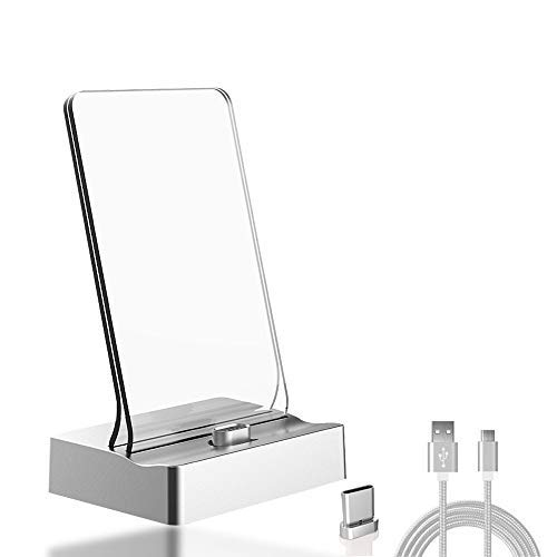 CoolKo Newest Silver Magnetic Charging Stand Photo Frame Cradle Dock Station for Type C Mobile Phones with 1.5 Meter Braided Cable and Magnetic Head for Type C [Version 1] ()