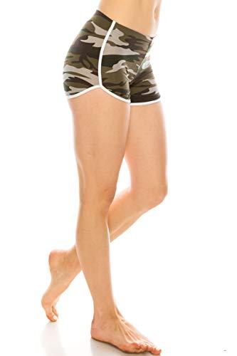 Womens Camo Shorts - ALWAYS Women Camo Yoga Shorts - Premium Buttery Soft Stretch Short Pants 1846 M