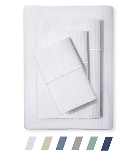 Feather & Stitch 500 Thread Count 100% Cotton Sheet Set, Stripe Sheets, Soft Sateen Weave,King Sheets, Deep Pockets,Hotel Collection,Luxury Bedding Super Sale 100% Cotton (King White)