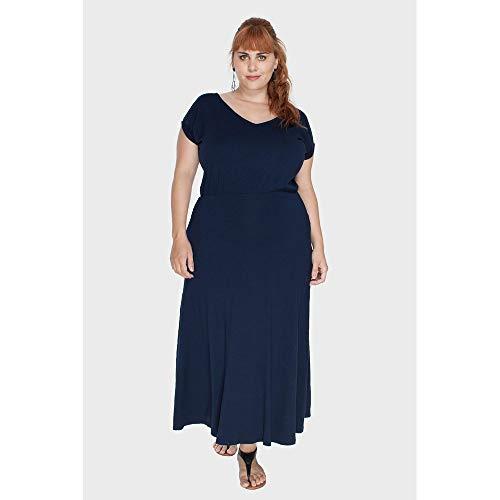 Vestido Longo Decote V Plus Size Marinho-56