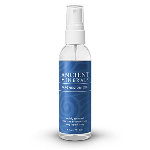 Ancient Minerals Magnesium Oil Spray 4 oz. -Pure Genuine Zechstein Magnesium Chloride Supplement - Best Topical Skin Application for Dermal Absorption