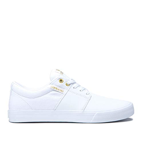 Supra Footwear - Stacks Vulc II Low Top Skate Shoes, White/Gold-White, 9.5 M US Women/8 M US Men