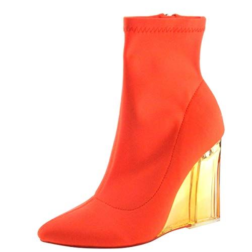 CAPE ROBBIN Womens Pointed Toe Stretchy Sock Lucite Clear Wedge Heel Ankle Booties Boots 8 Neon Orange