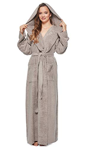Arus Womens Princess Robe Ankle Long Hooded Silky Light Turkish Cotton Bathrobe Gray Large