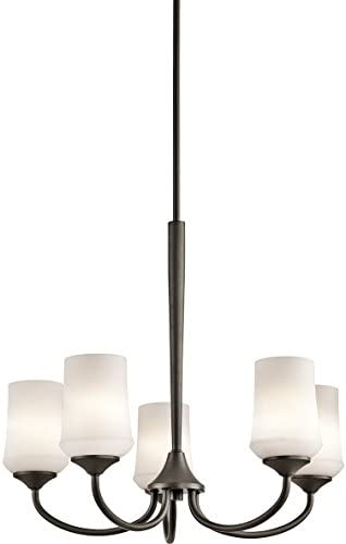 Kichler 43665OZ, Aubrey Glass Energy Star Chandelier Lighting, 5 Light, 375 Watt, Olde Bronze