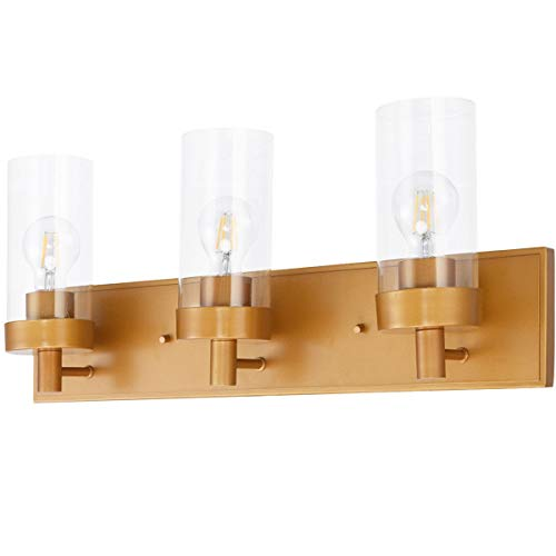 3-Light Vanity Lamp w/Gold Finish and Clear Glass Shade New Perfect Beautiful Classic Elegant Useful CHOOSEandBUY