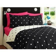 Amazon.com: Girl Black White Polka Dot Full Queen Comforter Set
