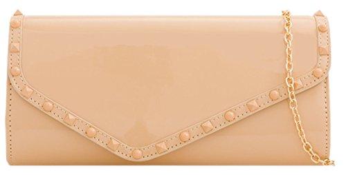 Girly Bag Nude Glossy Studs HandBags Clutch rSqr0