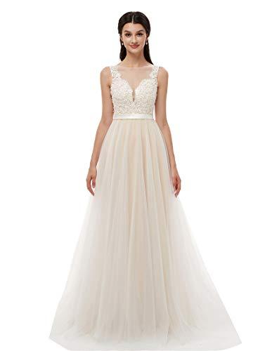 Ikerenwedding Womens V Neck Wedding Dresses