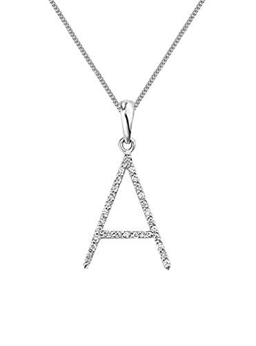 Or blanc 18ct. Diamant 'A' Chaîne et Pendentif initiale or blanc 18carats, collier: 40,6cm/40cm -- 45,7cm/45cm -- 50,8cm/50cm