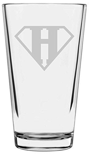 Superman Themed Etched All Purpose 16oz Libbey Pint Glass (Letter H)