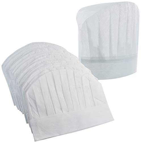 "Chef Hats 40 Pcs Disposable Non-Woven Chef Supplies 9"" White Culinary Hat Kitchen Cooking Chef Caps for Home Kitchen,Restaurants,Food Occasions,Classes and Parties 23"" in Circumference by Lee-buty"