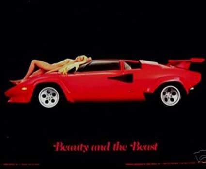 Amazon Com Lamborghini Countach Beauty And The Beast Car Poster