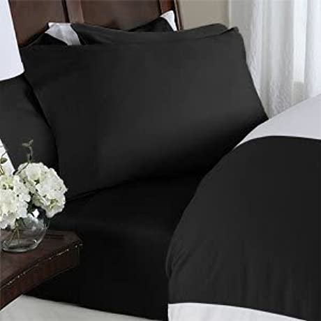 8PC ITALIAN 1000TC Egyptian Cotton GOOSE DOWN COMFORTER Bed In A Bag Sheet Duvet Queen Black