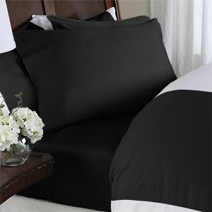 Black Plain - Solid King Size Bed Sheet Set - 600 Thread 100% Natural Combed Cotton [Fitted Sheet + Flat Sheet + 4 pillowcases] by EveryDay Linens
