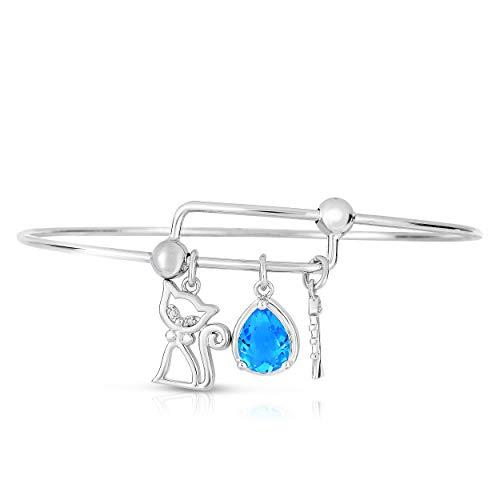 NATALIA DRAKE Expandable Inspirational Jewelry Women Charm Stackable Bracelet Lucky Charm Diamond Accent Bangle (Kitty CAT)
