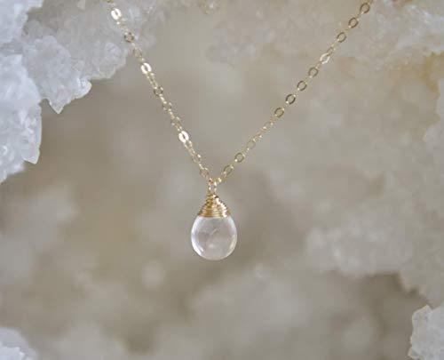 Rose Crystal Quartz Dangle Gold Filled Necklace - 16