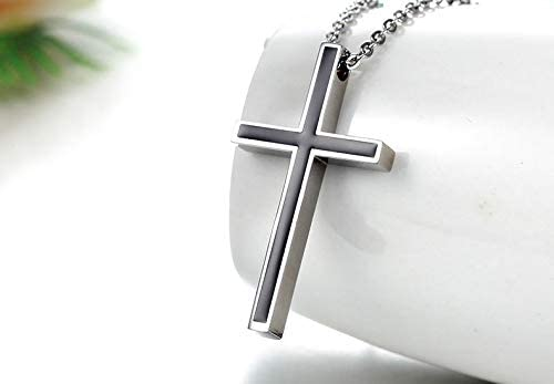 Trendy World Honeystore Longitud de 52,3 cm Collar con Colgante de Cruz de Acero de Titanio para Hombre Color Negro y Plata