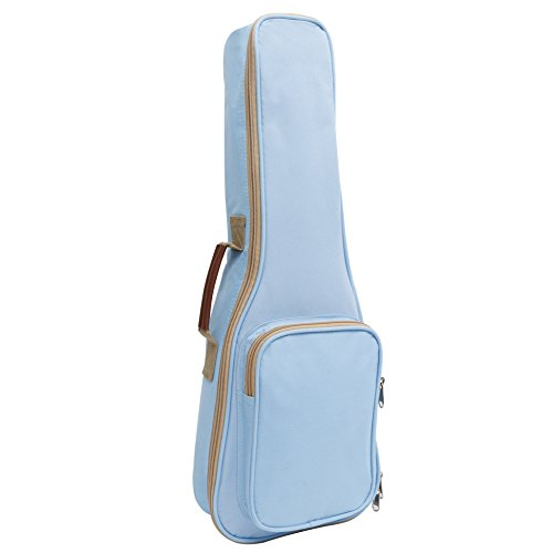HOT SEAL 10MM Leather Handles Thick Durable Colorful Ukulele Case Bag with Storage (21in, Light blue) by HOT SEAL (Image #1)