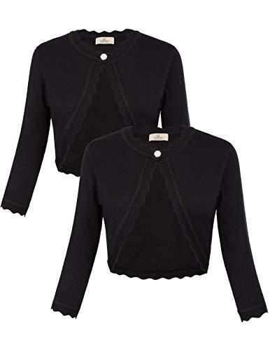 2 Pack Women Cute Open Front Cropped Bolero Shrug Cardigan S Black