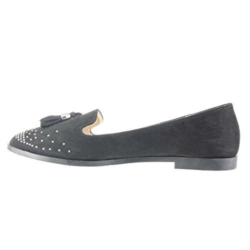 Angkorly - Zapatillas de Moda Mocasines slip-on mujer fleco pompom strass Talón Tacón ancho 1.5 CM - Negro