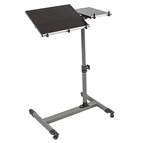 Marketworldcup-Rolling Laptop Table W/ Tilting Tabletop Overbed Desk TV Food Tray Hospital PC