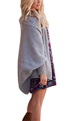 Donna Relaxed Grau Autunno Tempo Manica Primaverile Libero Outerwear A Cappotto Stlie Comodo Pipistrello Eleganti Lanceyy Grazioso Fashion Giacca Monocromo Ruvida Maglia 0AwdC1q