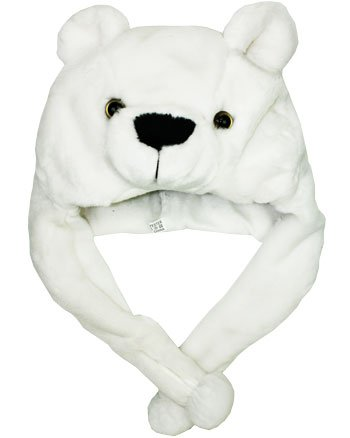 - POLAR BEAR Ski Hat Animal Hat Fleece lined, White, One Size