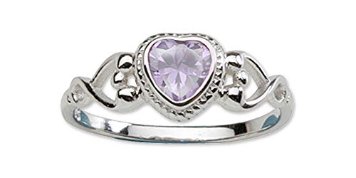 Silver June Birthstone Ring - Sterling Silver June CZ Simulated Birthstone Baby Ring with Heart