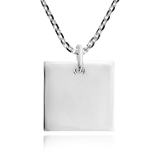 AeraVida Plain Geometric Square .925 Sterling Silver Pendant Necklace