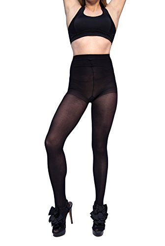 Curvation Women's Plus Size Tummy Smoother Control Top Microfiber Tights, Black, Curvaceous 2 (C2) (Cotton Control Tights Top)
