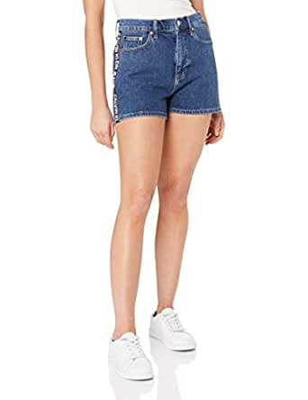 Calvin Klein Jeans Women's High Rise Shorts, Side Stripe Logo, 24