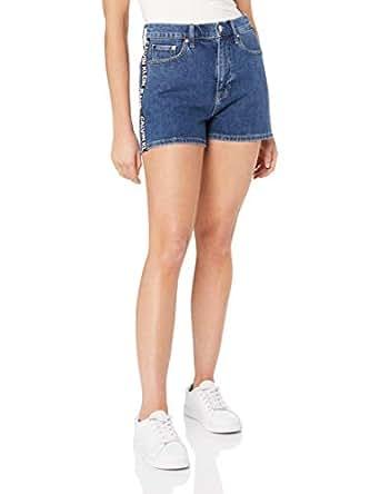 Calvin Klein Jeans Women's High Rise Shorts, Side Stripe Logo, 24