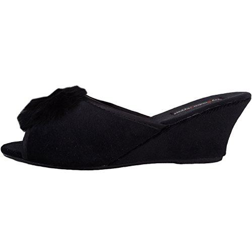 Donne Di Pom Scarpe Calzatura Assoluta Velluto Delle Toe In Con Stile Design Pantofole Nero Open 4U78xxw