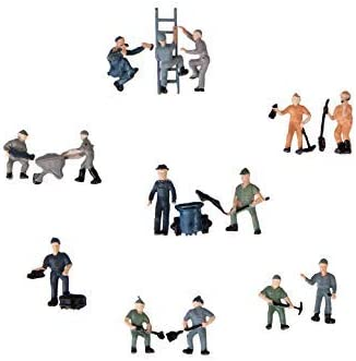 Silverline - Figuras de Trabajadores de ferrocarril pintadas con Escalera y cubeta, Estilo Mezclado 1:87: Amazon.es: Hogar
