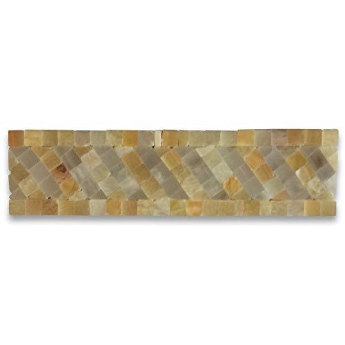 Renaissance Honey Onyx 2x7.7 Marble Mosaic Border Listello Tile Polished