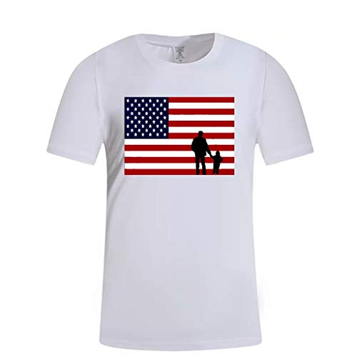 - YAYUMI Fashion Men's Independence Day American Flag Father's Day Sports Fitness T-Shirt Tops Short Sleeve White