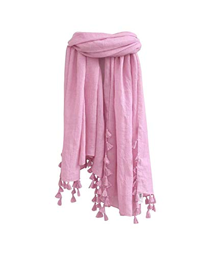 Women Lightweight Spring Soft Scarf - Pink Thin Long Wrap Shawl Tassel Fringe Summer