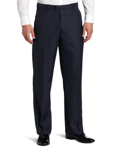 Perry Ellis Men's Portfolio Classic Fit Flat Front Folio Flex Waistband Sharkskin Pant, Azure Blue, (Sharkskin Dress)