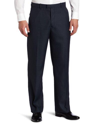 Perry Ellis Men's Portfolio Classic Fit Flat Front Folio Flex Waistband Sharkskin Pant, Azure Blue, (Comfort Waistband Trouser)