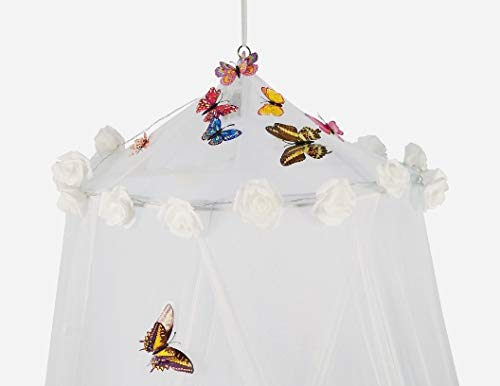 Dream Tada Bed Canopy for Girls - Teens Glow in The Dark Sheer Netting, Cinderella Net 3D Butterflies, Fit Twin Full Queen, DIY Kit (White with Lights) from Dream Tada